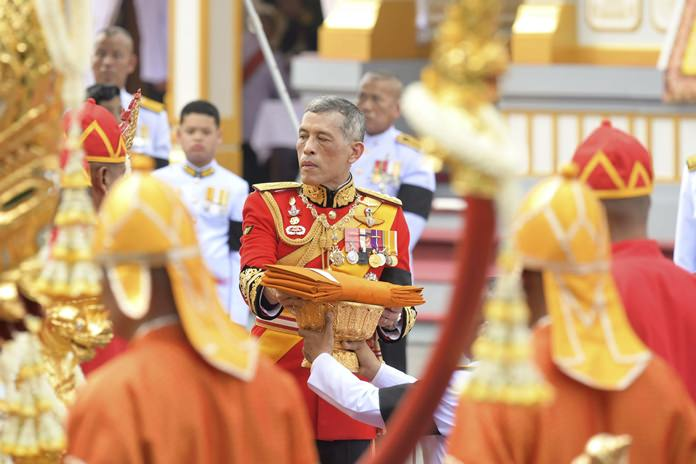 His MajestyKing Maha Vajiralongkorn takes part in the funeral of his father, the late King Bhumibol Adulyadej in Bangkok, Thursday, Oct. 26. (AP Photo/Kittinun Rodsupan)