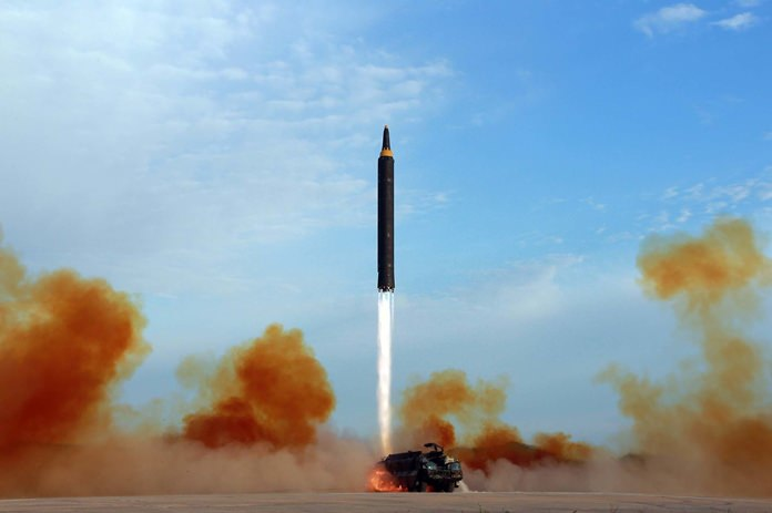 This undated file photo distributed by the North Korean government shows what was said to be the test launch of an intermediate range Hwasong-12 in North Korea. (Korean Central News Agency/Korea News Service via AP)