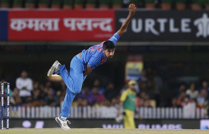 India's Jasprit Bumrah bowls during the first T20 cricket match against Australia in Ranchi, India, Saturday, Oct. 7. (AP Photo/Altaf Qadri)