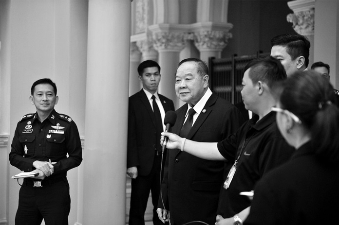 Deputy Prime Minister Gen Prawit Wongsuwan addresses the media in Bangkok, Saturday, Oct. 8.