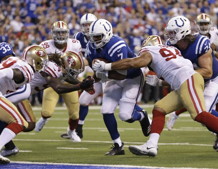 Indianapolis Colts quarterback Jacoby Brissett runs three-yards for a touchdown during the second half of an NFL football game against the San Francisco 49ers, Sunday, Oct. 8, in Indianapolis. (AP Photo/AJ Mast)
