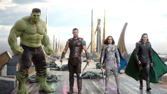 "This image shows (from left) the Hulk, Chris Hemsworth as Thor, Tessa Thompson as Valkyrie and Tom Hiddleston as Loki in a scene from ""Thor: Ragnarok."" (Marvel Studios via AP)"