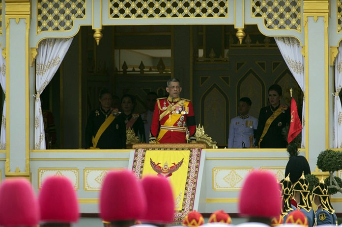 HM King Maha Vajiralongkorn, center, and Princess Maha Chakri Sirindhorn, left, participate in the funeral procession and royal cremation ceremony of late Thai King Bhumibol Adulyadej in Bangkok. (AP Photo/Wason Wanichakorn)