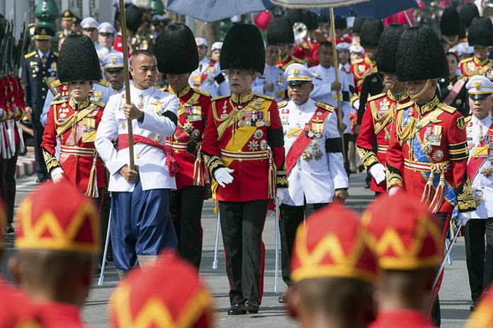 HM King Maha Vajiralongkorn participates at the funeral procession and royal cremation ceremony of late Thai King Bhumibol Adulyadej. (AP Photo/Kittinun Rodsupan)