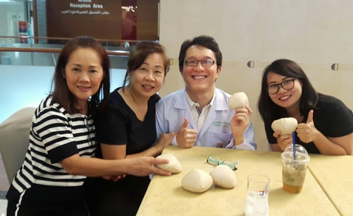 "Bangkok Hospital Pattaya hosted a volunteer ""Save Your Breast Project"" to sew bra inserts for mastectomy patients recovering from breast cancer."