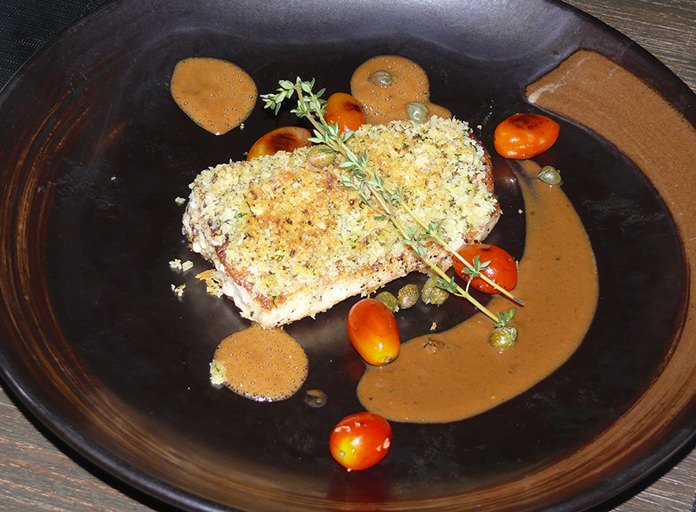 The herb crusted Sea Bass.