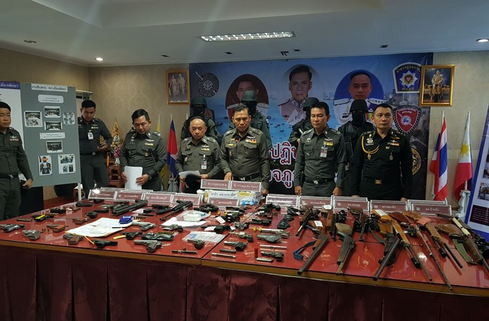 A crime sweep throughout Chonburi netted over 180 arrests, along with drugs and guns.