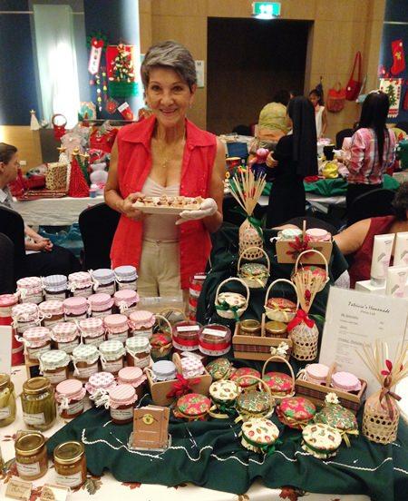 Pat Burbridge is all set for the Christmas Bazaar.