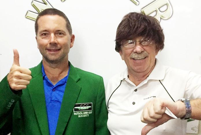 "A Flight winner Peter Wilson (left) with ""wig"" wearer Terry Mangan."