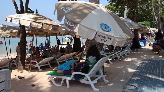 Pattaya officials defended their acceptance of 150 donated Chang-branded beach chairs and umbrellas saying the logo-adorned equipment is advertising Chang drinking water, not beer, which would be illegal.