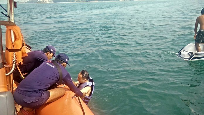 Marine rescuers saved two South Koreans who were stranded after flipping their jet ski about two kilometers off Jomtien Beach.