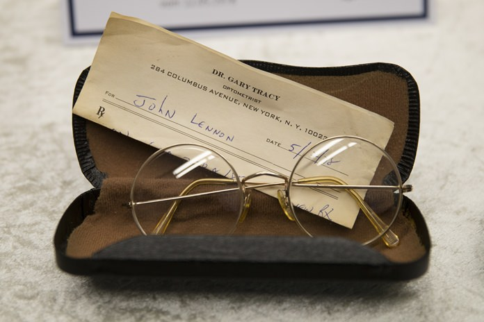A pair of John Lennon's glasses are displayed at the police headquarters in Berlin, Tuesday, Nov. 21. (AP Photo/Markus Schreiber)