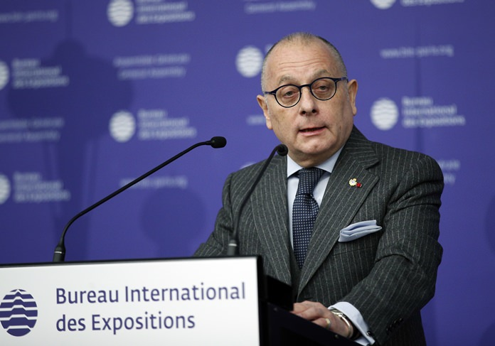 Minister of Foreign affairs of Argentine Jorge Faurie of Argentina delivers a speech at the 162nd General Assembly of BIE, in Paris, Wednesday, Nov. 15, 2017. The Bureau International des Expositions (BIE) is the intergovernmental organization in charge of overseeing and regulating World Expos, since 1931. Argentina will host Specialized Expo 2022/23. (AP Photo/Christophe Ena)