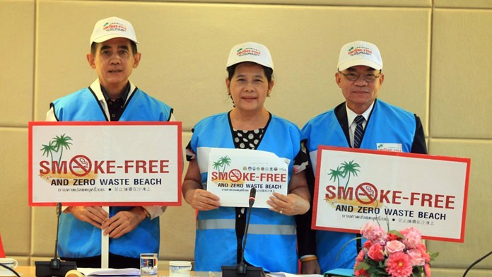 Wuthipol Charoenpol, Supaporn Cherdchaiphum, and Sretapol Boonsawat have met with beach vendors, tourism officials and city workers to outline the Anti-Smoking PR campaign.