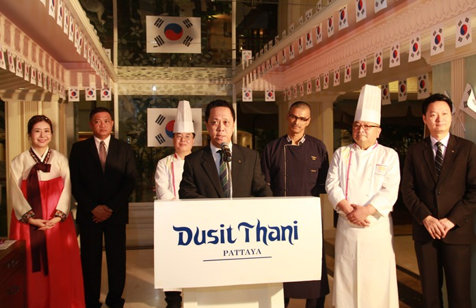 Neoh Kean Boon, GM of Dusit Thani Pattaya opens the 'Taste of Korea' food festival. On hand to welcome the guests were Ms. Songhee Ha, Director of Sales – Korean market, Mr. Pin Krasang, Director of Catering, Executive Chef Pathma Bala, Chef Han Chul Bae and Larry Choi, Asst. Manager.