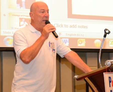 PCEC Chairman Roy Albiston begins the meeting by announcing the unexpected passing of Governing Board Member Jerry Dean on the previous Friday. Roy noted Jerry's many contributions to the Club and the Expat community in Pattaya. There was a minute of silence in honor of Jerry's memory before the scheduled program began.