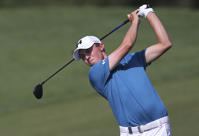 Matthew Fitzpatrick from England plays a shot on the 2nd hole during the second round of the DP World Tour Championship golf tournament in Dubai, United Arab Emirates, Friday, Nov. 17. (AP Photo/Kamran Jebreili)