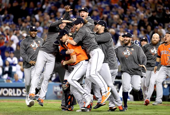 The Houston Astros celebrate after Game 7 of baseball's World Series against the Los Angeles Dodgers Wednesday, Nov. 1, in Los Angeles. The Astros won 5-1 to win the series 4-3. (AP Photo/Matt Slocum)