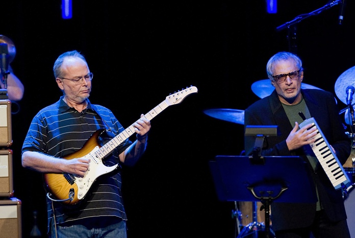 In this July 4, 2009 file photo, Walter Becker, left, and Donald Fagen, of the U.S. group Steely Dan perform at the 43nd Montreux Jazz Festival, in Montreux, Switzerland. (AP Photo/Keystone, Jean-Christophe Bott)