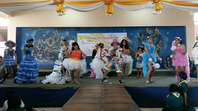 Students dressed in costumes made of recycled items and sold-off second-hand goods when Pattaya School 9 hosted its Environmental Conservation and Development Project.