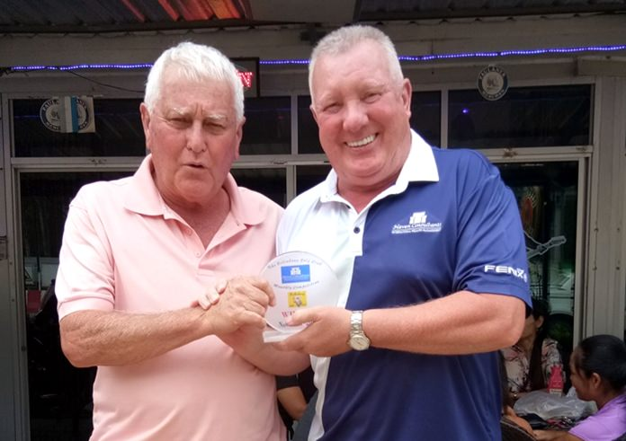 Barry McIntosh (left) shot a net 66 to win the men's medal.