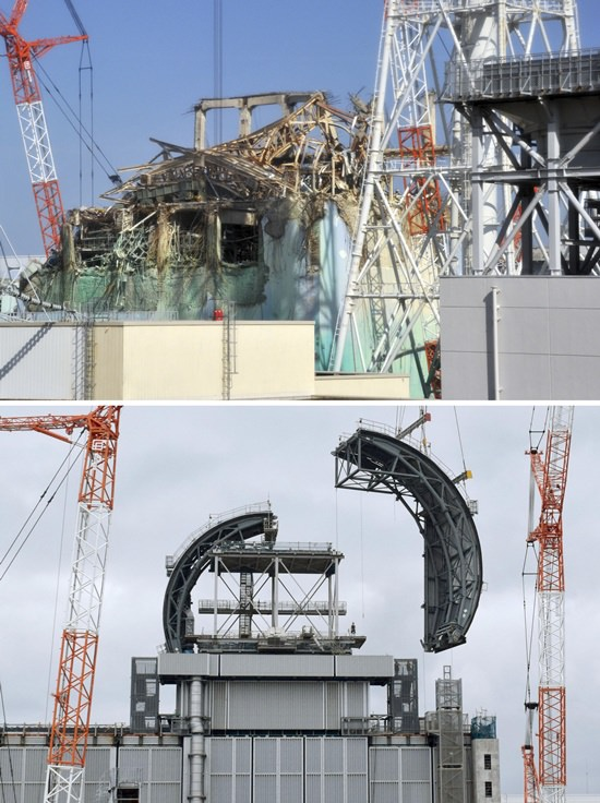 This combination of photos shows the Unit 3 building of Tokyo Electric Power Co.'s Fukushima Dai-ichi nuclear power plant, top in Feb. 28, 2012 and bottom in Aug. 2, 2017, at Okuma town in Fukushima prefecture, northeastern Japan. The tsunami-hit Fukushima Dai-ichi nuclear power plant has had a major face-lift since the 2011 meltdowns, at least above ground. Inside and underground, it remains largely a morass. (AP Photo)