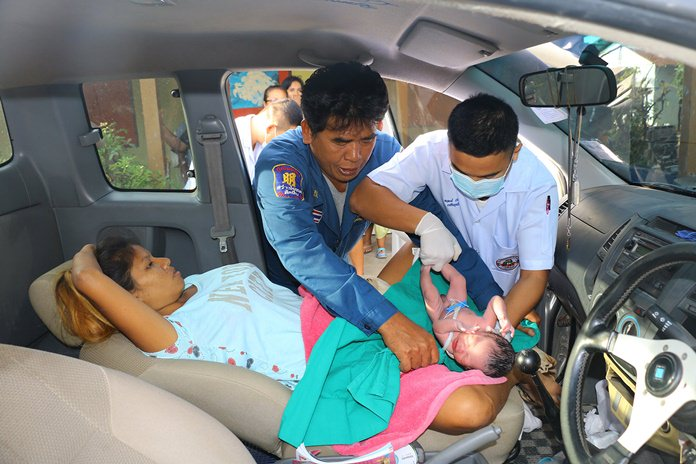 The miracle of life - Navy medics came to Natha Phosiri's rescue when she had to give birth in her car.