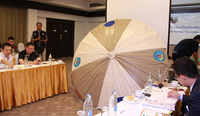 PBTA members are shown an example of an umbrella without a logo.