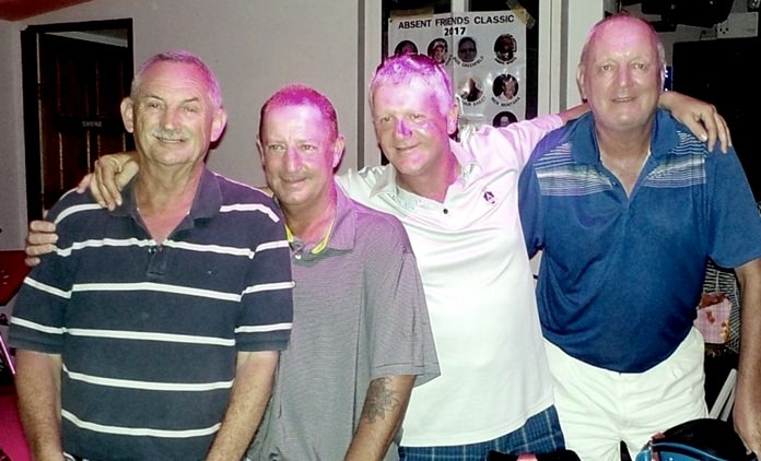 Absent Friends Scramble winners, Bob Newell, David Mather, Steve Mulberry and Lawrence Shaw.