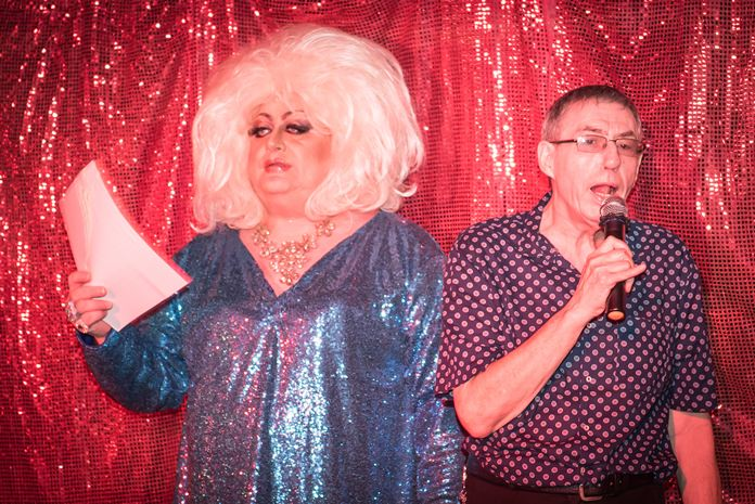 Davina Sparkle and David Kerridge announce the prizes during the lucky draw.