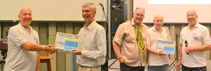 MC Roy Albiston presents the PCEC's Certificate of Appreciation to Ian Frame (left) and Marcus Tristan & Bertil Goldberg (right) for their interesting and entertaining presentations.