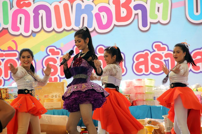 Beautiful young performers command the stage at Pattaya City Hall on Children's Day this year. Music, games, food and presents highlighted the activities staged by schools, municipal offices and police stations all along the Eastern Seaboard when Thailand's pampered children were 'spoiled' on their special day.