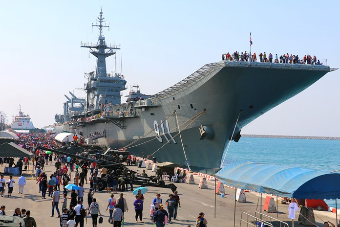 Thousands of families turn up each year on Children's Day to get a close-up look at Thailand's only aircraft carrier, the HTMS Chakri Naruebet.