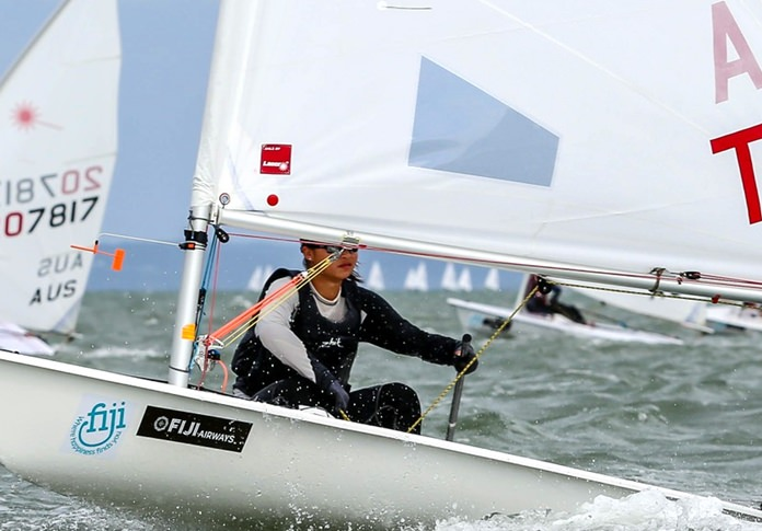 Janisara Romanyk sails to gold at the 2018 Oceania & Australia Laser National Championships in Queensland, Australia. (Photo/Royal Queensland Yacht Swuadron)