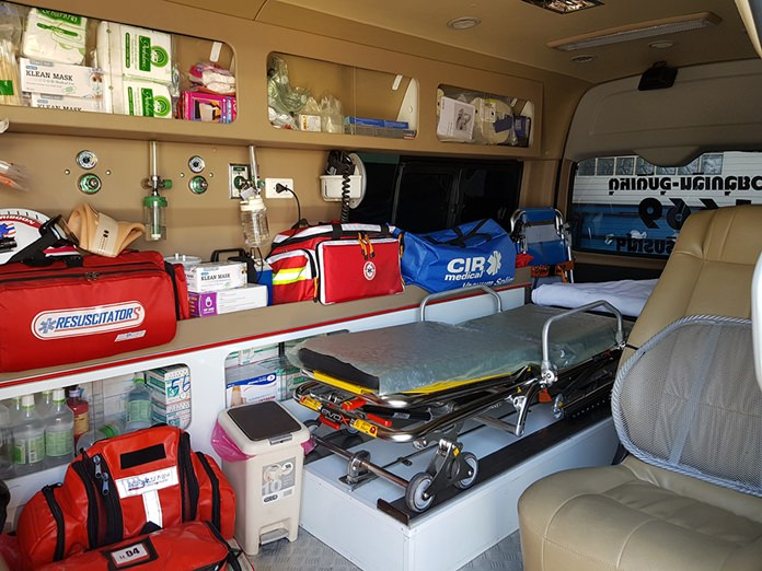 The ambulances are equipped with basic and advanced life support equipment.
