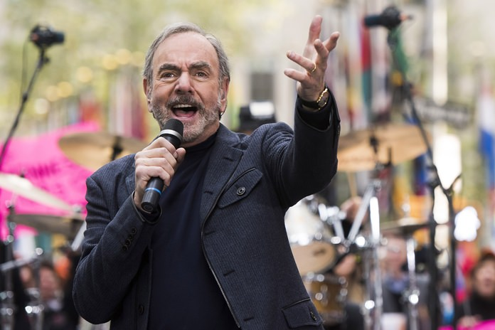 """Neil Diamond is shown performing on NBC's """"Today"""" show in New York in this Oct. 20, 2014 file photo. (Photo by Charles Sykes/Invision/AP)"""
