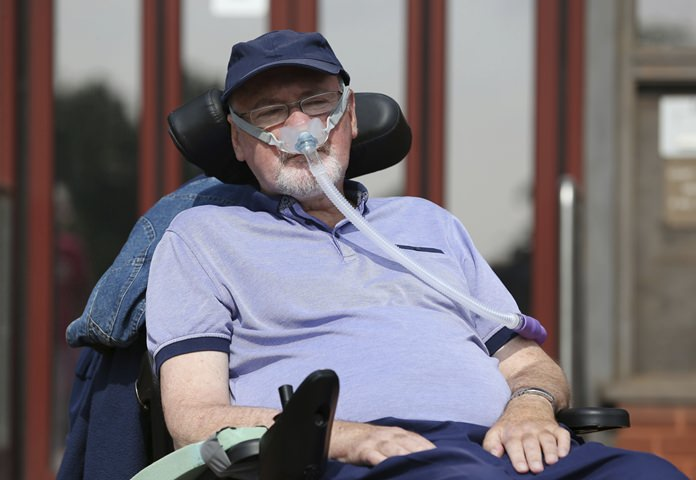 This is a July 19, 2017 file photo of terminally-ill British Noel Conway, a 68-year-old retired lecturer from Shrewsbury, England. Conway has been granted permission on Thursday, Jan. 18, 2018 to challenge the country's law on assisted dying, after an earlier decision that rejected his case. (Aaron Chown/ PA via AP, File)