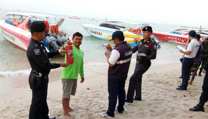 Tourist police launched checks on Pattaya's various boat and watersports operators following a speedboat fire off the Phi Phi Islands that injured 12 Chinese tourists.