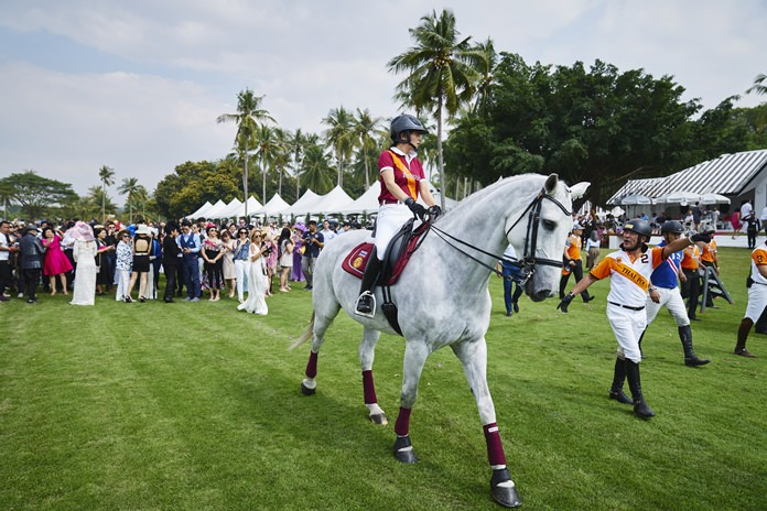 Her Royal Highness Princess Sirivannavari Nariratana demonstrates her equestrian skills prior to the final match.