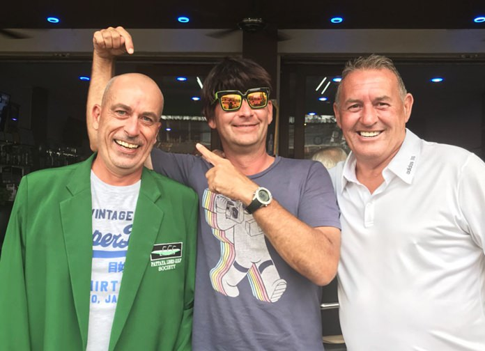 """Nigel Harrison (left) with """"wig"""" wearer Udo Emmerich (centre) and Phil Davies."""