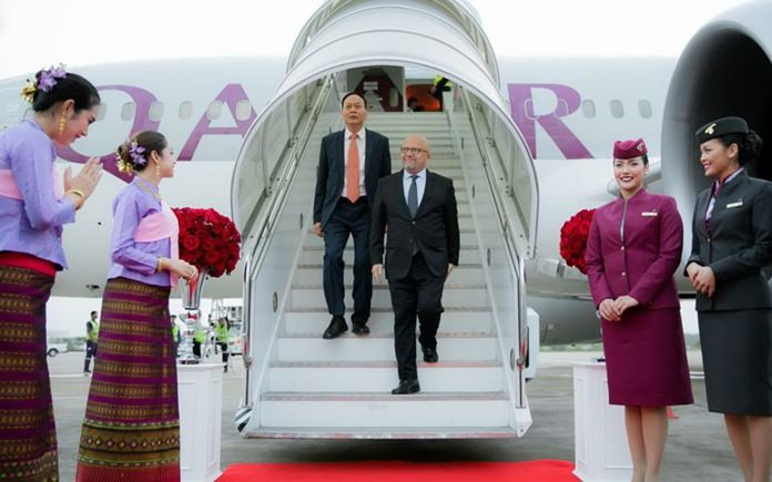 H.E. Soonthorn Chaiyindeepum, Thai Ambassador to the State of Qatar and Qatar Airways Senior Vice President Asia Pacific, Marwan Koleilat arrive at U-Tapao Rayong Pattaya International Airport.