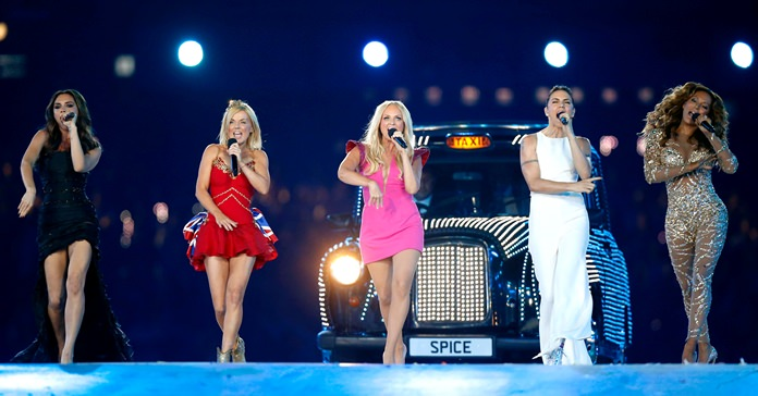 In this Sunday, Aug. 12, 2012 file photo, British band 'The Spice Girls' perform during the Closing Ceremony at the 2012 Summer Olympics, in London. (AP Photo/Matt Dunham)