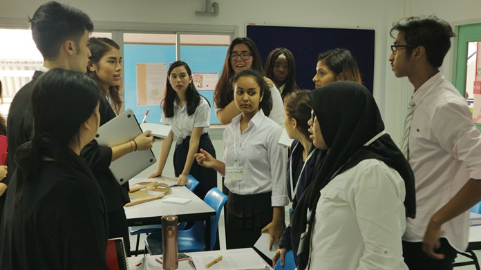 Students debate population growth at the MUN Conference.