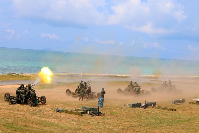 The navy's Air and Coastal Defense Command fires up the big guns for their annual anti-aircraft weapons drill.
