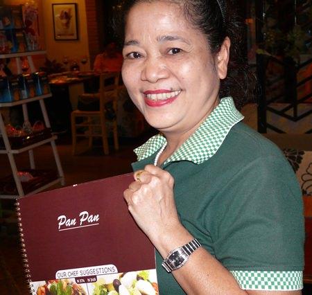 Khun Kamala with the photographic menu