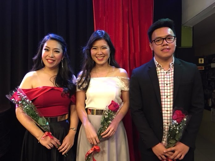 From left, Manasanun Aksornteang (Angel); Kamonporn Huncharoen (Pae) and pianist Yossral Songkiatkul.