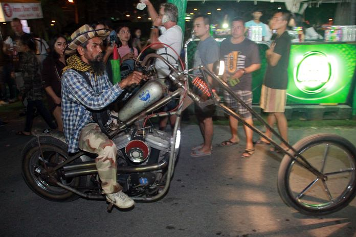 This modified chopper bike gains a lot of attention.