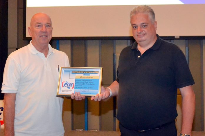 MC Roy Albiston presents the PCEC's Certificate of Appreciation to Brad Melrose for his informative and very educational presentation about online safety.