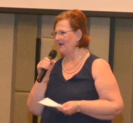 Member Ann Ensell conducts the Open Forum portion of the PCEC meeting by calling on anyone in the audience that would like to ask a question or comment on expat living in Pattaya.