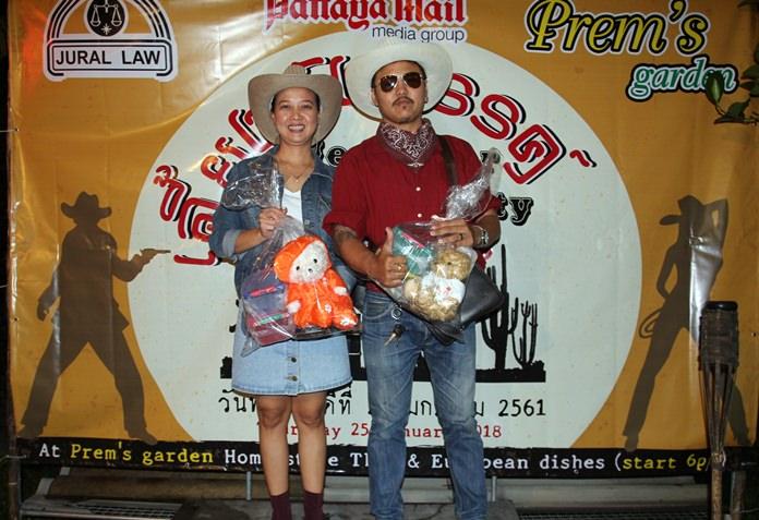 Best cowboy/cowgirl costume winners were Pattaya Mail reporter Jetsada Homklin and Pattaya Mail law advisor Jurairat Kanchana.